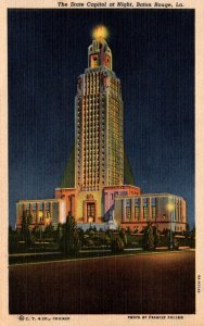 Louisiana Baton Rouge State Capitol Building At Night 1949 Curteich