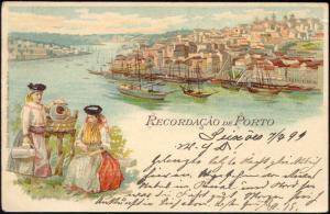 portugal, PORTO, Panorama with Ships, Costumes (1899) Stamp
