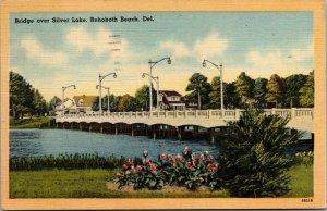 Vtg 1940s Bridge Over Silver Lake Rehoboth Beach Delaware DE Linen Postcard