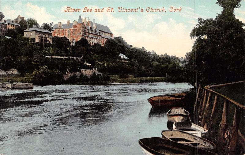 CORK IRELAND UK RIVER LEE & ST VINCENT'S CHURCH POSTCARD