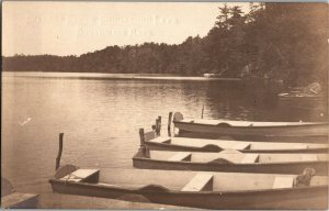 Cottage Grove, Boats Moored on Congamond Lake Southwick MA Vintage Postcard T22