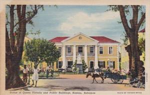 Bahamas Nassau Statue Of Queen Victoria and Public Buildings Curteich