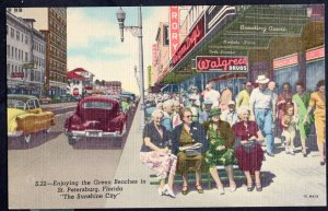FL ST. PETERSBURG  Famous Green Benches Walgreen DRUGS sign older cars LINEN