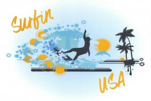 6 Brand New Glossy Postcards, Surfin' USA, Surfing, Surfer, Palm Tress CE0