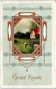 ARTS & CRAFTS STYLE Greeting  Postcard 1912 KINDEST REGARDS Nice Design