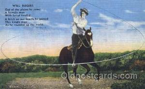 Will Rogers Western Cowboy, Cowgirl Postcard Postcards  Will Rogers
