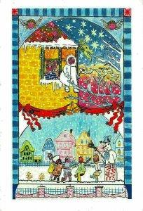 Zeichnung von Michael hermann-Gmeiner, Christmas Snowman Village Postcard