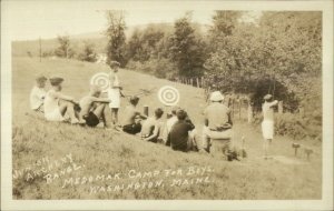 Washington ME Medomak Camp For Boys Archery c1920s-30s Real Photo Postcard
