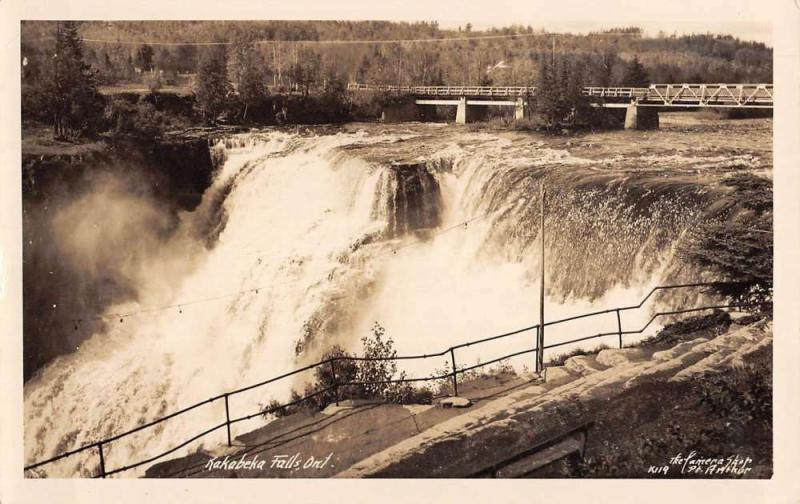 Kakabeka Falls Ontario Canada Waterfall Real Photo Antique Postcard K54866