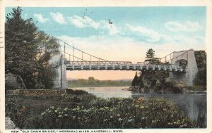 LPS85 Haverhill Massachusetts Old Chain Bridge Merrimac River Vintage Postcard
