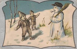 Snowman Greetings - Boys throwing Snowballs - pm 1904 - UDB