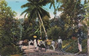 Jamaica Greetings Scene On Bog Walk Near Kent Village 1931
