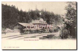Switzerland Old Postcard Brunig Bahnhof buffet (train) TOP