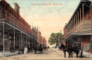 Ocala Florida Broadway Looking West Vintage Postcard AA11846
