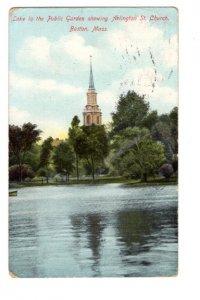Garden, Arlington St Church, Boston, Massachusetts, Used Flag Cancel 1910