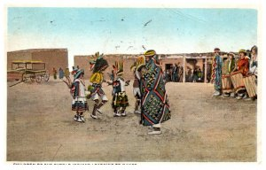 American Indian Children of Pueblo Indians learning to Dance