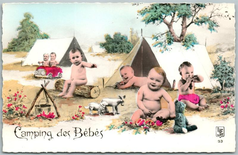 MULTIPLE BABIES CAMPING HAND COLORED REAL PHOTO ANTIQUE POSTCARD RPPC