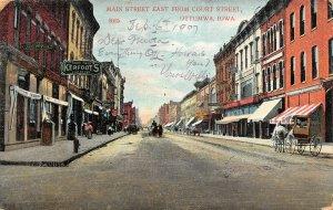 LP92 Ottumwa Iowa Postcard Main St East from Court Street horse drawn wagon
