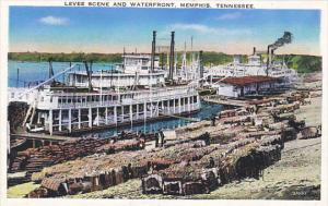 Tennessee Memphis Cotton and Steamers On The Levee