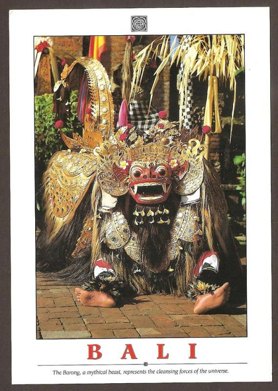 INDONESIA LARGE POSTCARD-BARONG-A MYTHICAL BEAST-BALI
