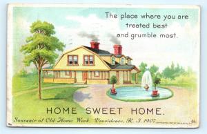 Postcard RI Providence 1907 Home Sweet Home Old Home Week F22
