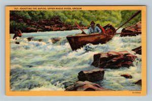 Upper Rogue River OR, Shooting The Rapids, Linen Oregon Postcard