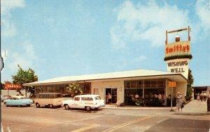 c 1960 Roadside Travel Postcard Smittys Wishing Well Restaurant VW Van Autos