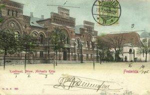denmark, FREDERICIA, Raadhuset, Bülow, Michaelis Kirke (1905) Postcard
