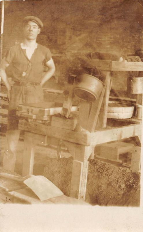 B52/ Occupational Real Photo RPPC Postcard Workers Factory Interior Sifting 19