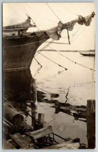 Boothbay Harbor Maine~Stern of a Huge Sailing Ship~RPPC