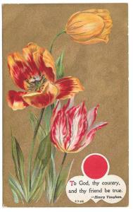 Motto Patriotic Friendship Flower Tulips Gold Moire Postcard