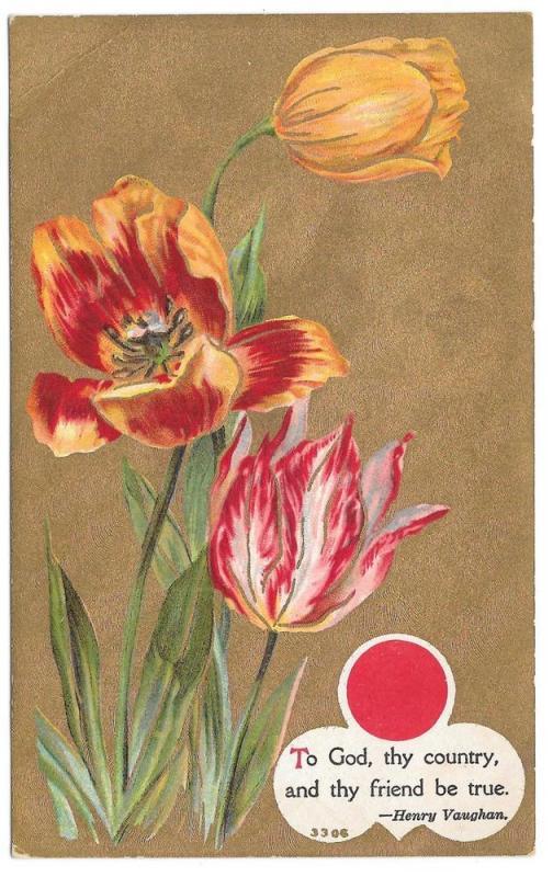 Motto Patriotic Friendship Flower Tulips Gold Moire Postcard