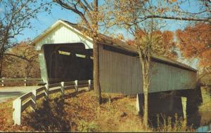 Covered Bridge Sugar Creek Darlington Indiana IN Montgomery County Postcard D2