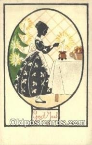 Artist Saga Walli Silhouette Postcard Post Card Old Vintage Antique  Artist S...