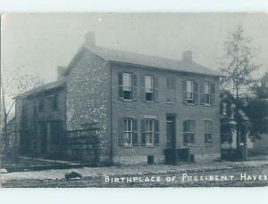 Old rppc PRESIDENT HAYES BIRTHPLACE Fremont Ohio OH HM3013