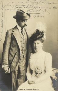 Elemér, Prince Lónyay de Nagy-Lónya and Princess Stéphanie of Belgium 1903 RPPC