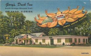 1940s Gary's Duck Inn roadside Orlando Florida Teich linen postcard 10717