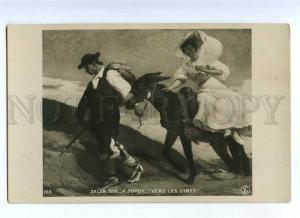 214946 BELLE Lady on DONKEY by DUPUY vintage SALON PC