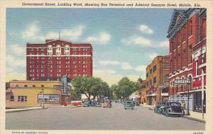 Alabama Mobile Government Street Looking West Showing Bus Terminal and Admira...