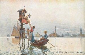 Italy venezia un capitello in laguna boat  Postcard