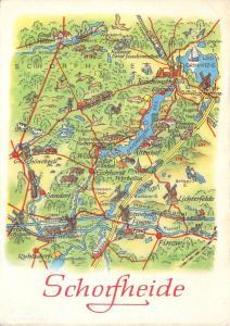Vintage 1976 Landkarte vom Umland Schorfheide Germany Karte Map Postcard 68D