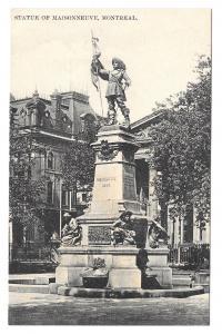 Canada Montreal Statue of Maisonneuve Place D'Armes Monument Postcard Vintage