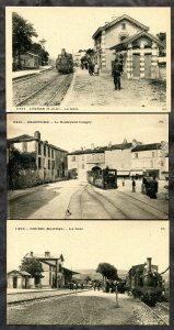 5343 - FRANCE 3 Postcards Trains, Stations. Lozere, Brantome, Gourin