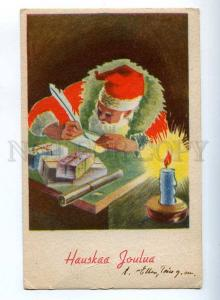 206846 NEW YEAR candle SANTA CLAUS writting Letter Vintage PC