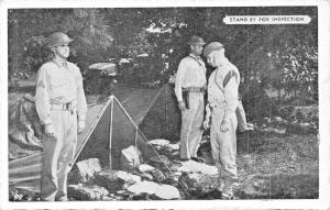 US ARMY SIGNAL CORPS-WW2~SOLDIERS STAND BY FOR INSPECTION POSTCARD