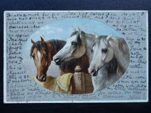 Country Life THREE HORSES by Artist C. Reichert c1905 Postcard by C.W. Faulkner