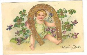 Cherub Angel holding horseshoe Greetings , TUCK #200, PU-1908