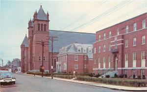 Nashua New Hampshire~Parish School~Church~St Patricks Rectory~1950s Postcard