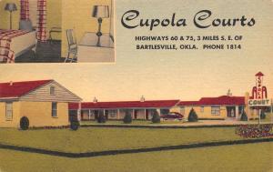 Bartlesville Oklahoma~Cupola Motor Court~Inside Out~Roadside Motel~c1950 Linen