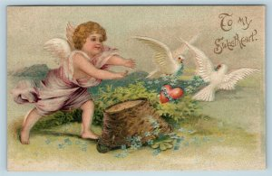 Postcard Valentines To My Sweetheart Cupid Chasing Doves Clapsaddle 1908 Y11